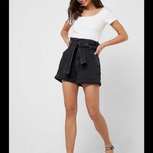 Topshop Black Belted Paper Bag Shorts NWT